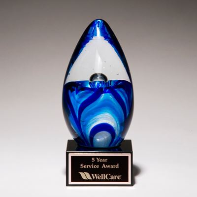 Picture of Art Glass Blue and White Egg