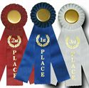 "Picture of Stock 10"" Triple Streamer Ribbon Rosettes"