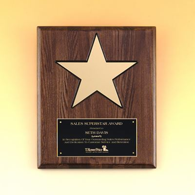 Picture of Gold Star Walnut Finish Plaque