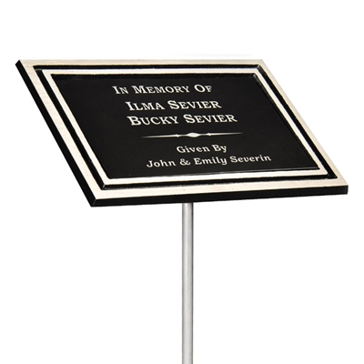 Picture of Cast Aluminum Outdoor Memorial Plaque w/ Stake