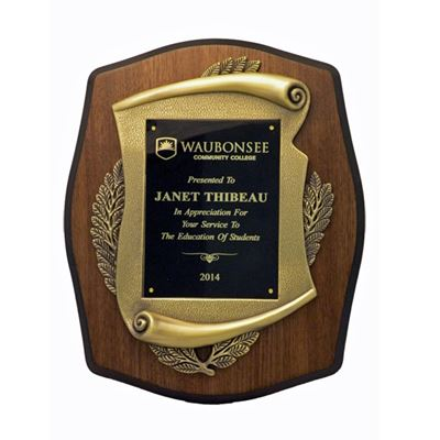 Picture of Bronze Scroll Walnut Finish Plaque