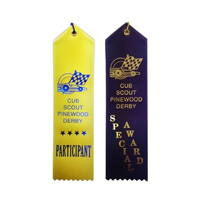 "Picture of Stock 2""x8"" Pinewood Derby Ribbons w/ Card"
