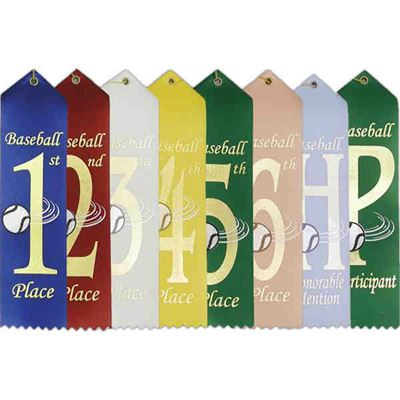 "Picture of Stock 2""x8"" Baseball Ribbons w/ Card"