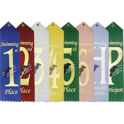 "Picture of Stock 2""x8"" Swimming Ribbons w/ Card"