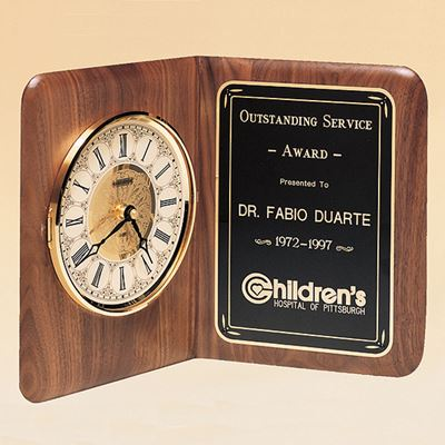 Picture of Ivory Dial Genuine Walnut Book Clock