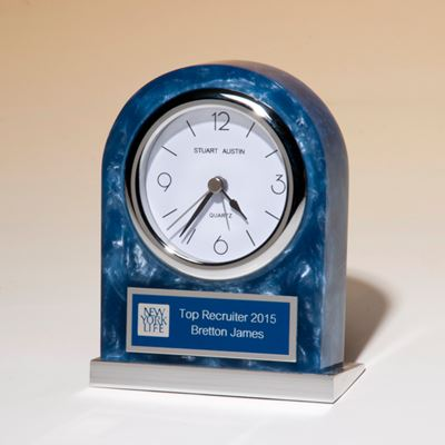 Picture of Blue Marbleized Acrylic Clock