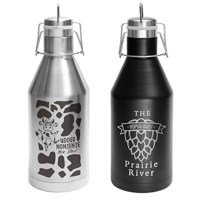 64 oz. Stainless Steel Growlers w/ Swing-Top Lid