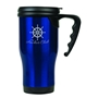Gloss Finish 14 oz. Travel Mugs with Handle - Blue