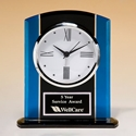 BC973 Blue, Black & Silver Glass Clock