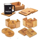 Picture of Laser Engraved Bamboo Coaster Sets