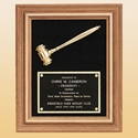 Picture of Walnut Frame Velour Gold Gavel Plaque